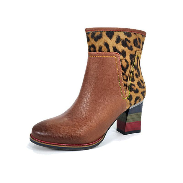 Laura Vita Genuine Leather Ankle Boots Women Shoes Leopard Print Winter  Fall Winter Women Boots Middle Heels