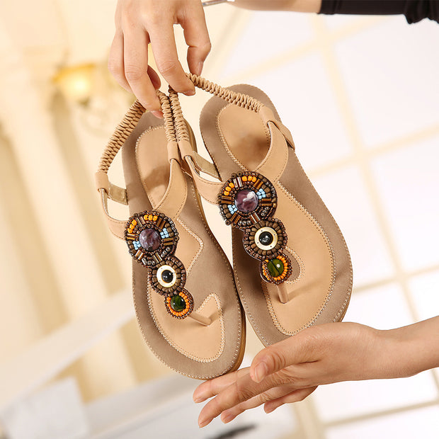 Woman Summer new women's sandals Bohemia flat-bottomed fashion Woman Sandals national wind folder toe soft bottom comfortable sandals
