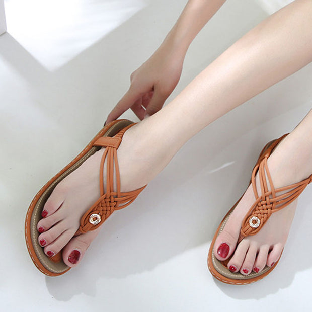 Women Beach Sandals for Ladies Sandalias Slip-On Summer Sandals Women Leisure Gladiator Shoes Buty Damskie Big Size Flats