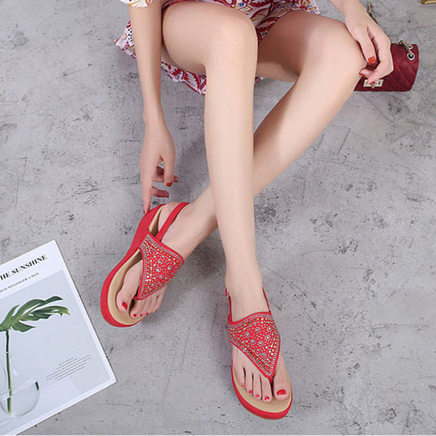 Women new European and American Style Bohemian Slope Heeled Sandals Women Round Toe Fashion Summer Beach Shoes Zapatos De Mujer