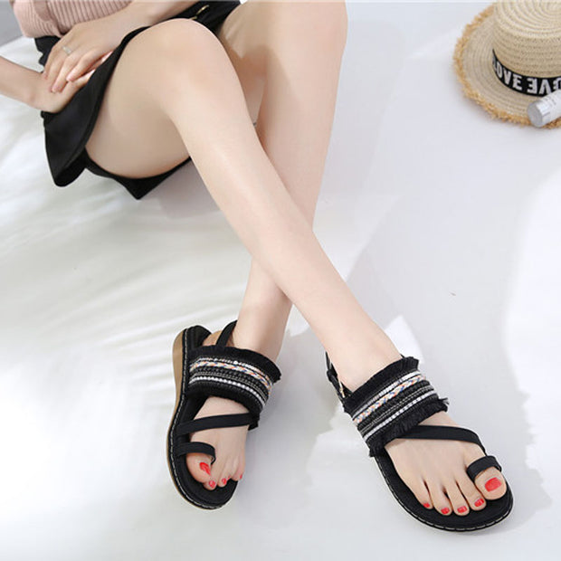 Women new Retro Sandals Women Flats Summer Tassel Shoes Ladies Wedding Beach Sandals Bohemia flip flops fashion shoes woman