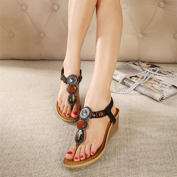 Women Sandals Beads Sexy Gladiator Ladies Wedge Sandals Women Summer Shoes Woman Slip ON Best Quality