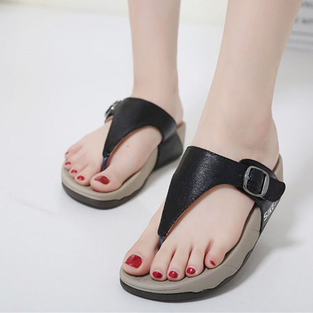 Women Preppy Style Student Women Slippers Thong T Strap Sandals Thick Bottom Light Sole Platform Wedge Heel Shoes Woman Slides