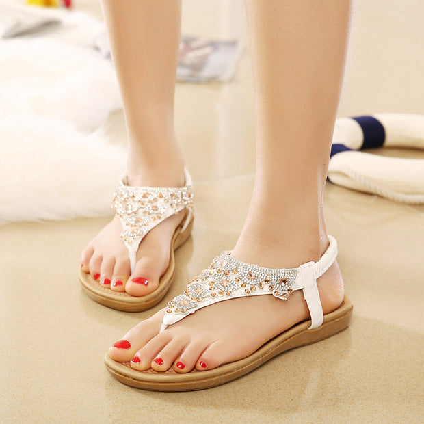 Woman Sandals Shoes Crystal Bohemian Clip Toe Comfortable Sandals Shoes Elastic Band Back Strap Flat Beach Shoes Plus Size