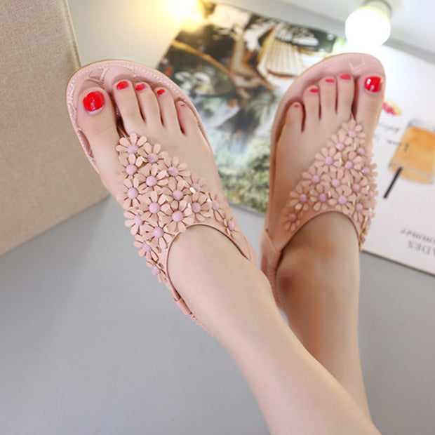 Women Summer Sandals Women T-strap Flip Flops Flat Sandals Flowers Gladiator Sandal Shoes Summer Zapatos Mujer Flat Sides