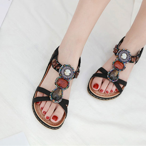 Women Ake Sia Bohemia Beading Retro Summer Open Toe Women Female Mujer Ladies Fashion Casual Platform Flat Shoes Sandalia Sandals