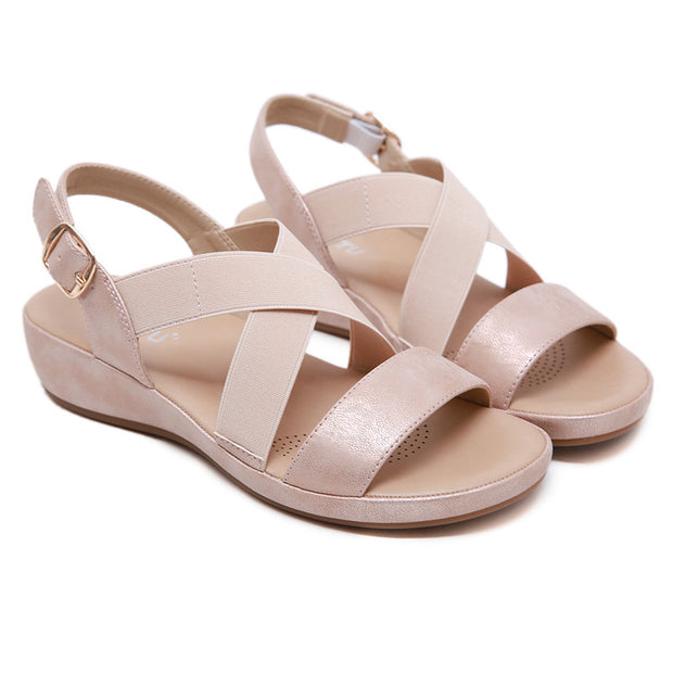 Women Sandals Cross Strap Wedges Summer Shoes Woman Beach Roman Sandals Open Toe Solid Large Size Ladies Sandals Casual Shoes