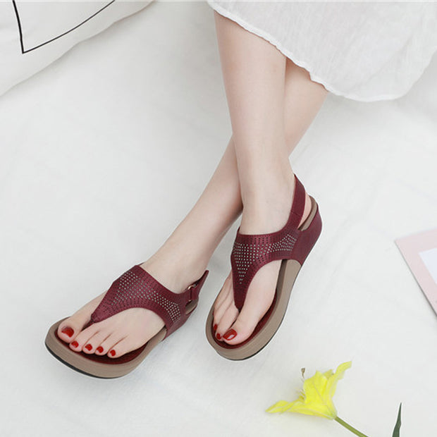 Women Bohemian Crystal Slope-heeled Sandals Comfortable Beach Shoes Women Sandals Sexy High Quality Outsid Ladies Shoes