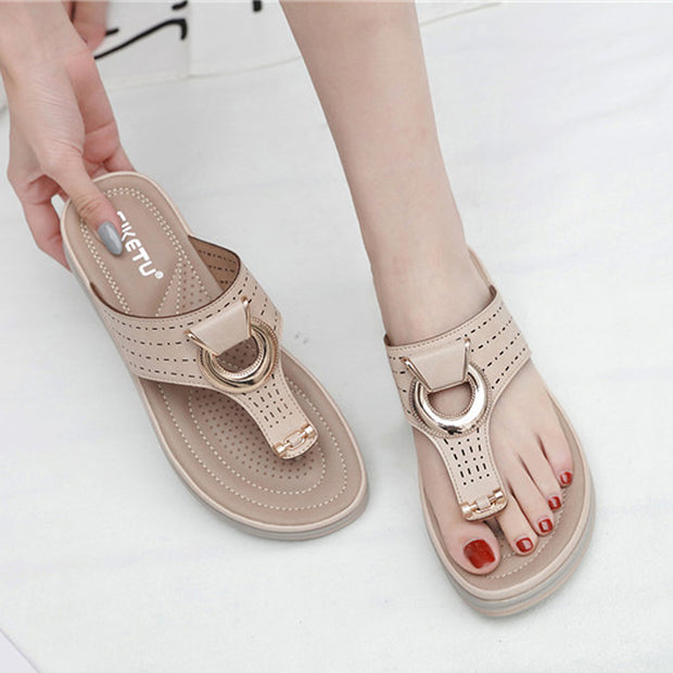 Woman Flipflop Cork Leather Slipper Women Home Shoes Office Slippers Beach Summer Flip Flops Sandalias De Verano Para Mujer
