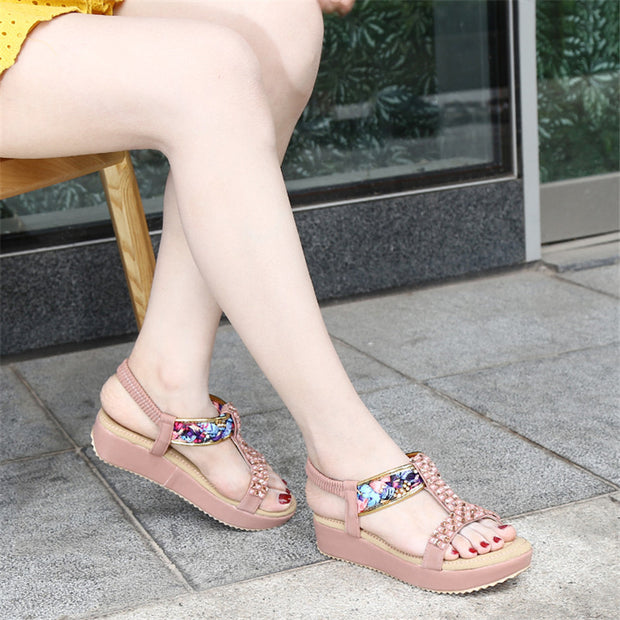 Women Summer Women's Flat Shoes Bohemian Rhinestone Elastic Band Thick-Bottom Sandals High Quality Outside Sandals Ladies Shoes