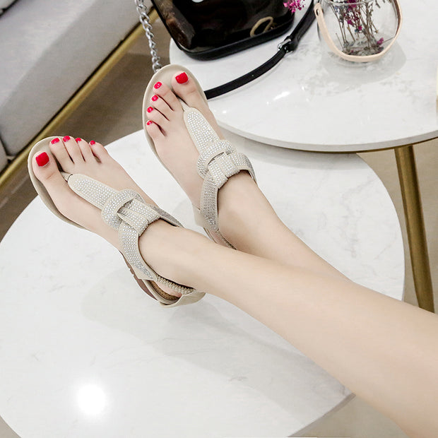 Women's Sandals Crystal Bohemian Elastic Band Ankle Retro Wedge Round Head Beach Roman Sandals Summer New Style