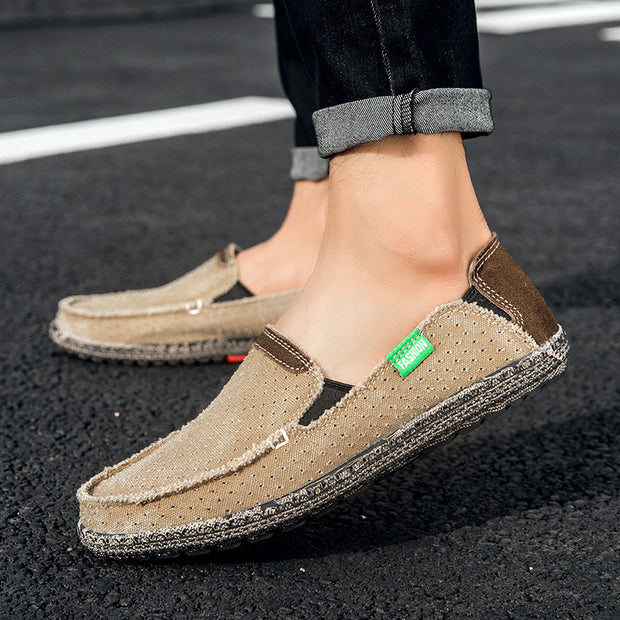 Men comfortable breathable retro slip-on shoes canvas shoes