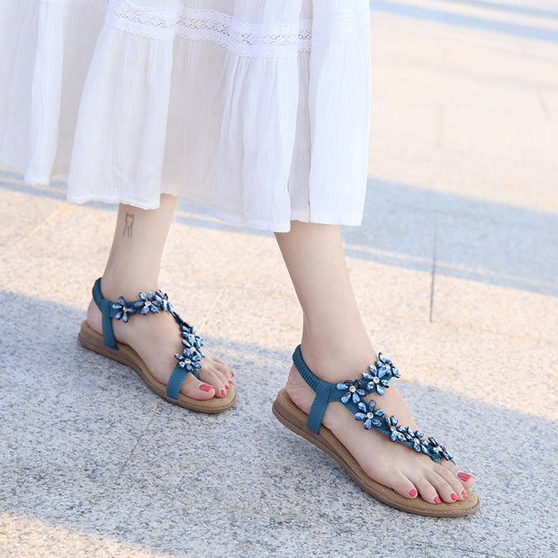 Women Shoes Fashion Floral Crystal Elastic Band Flip Flops Wedge Sandals Beach Shoes Flat Sandals For Women
