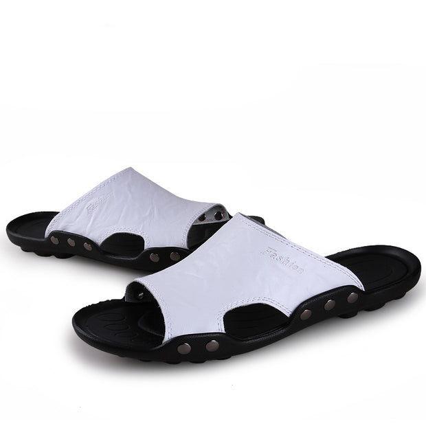 Men's  comfortable sandals hollow out handmade leather sandals