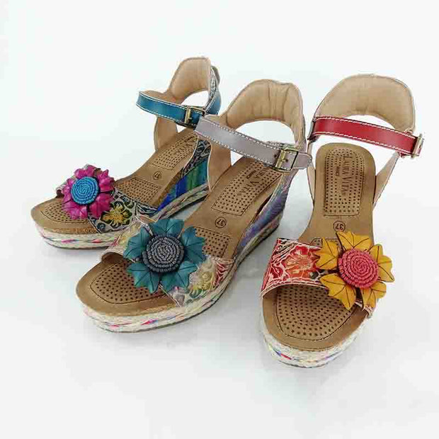 LAURA VITA Facyo 06 Retro CHIC Genuine Leather Handmade PAINTED VELCRO LASER SANDAL 124054