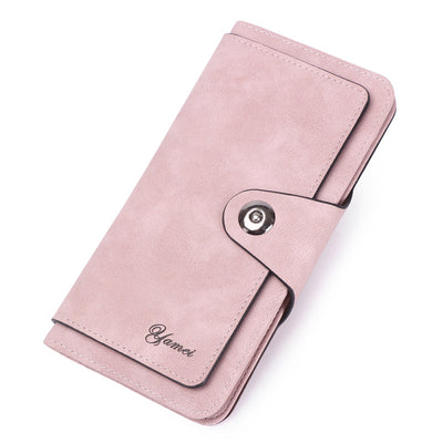 Women's fashion magnetic buckle three fold simple large capacity multi-card zero wallet