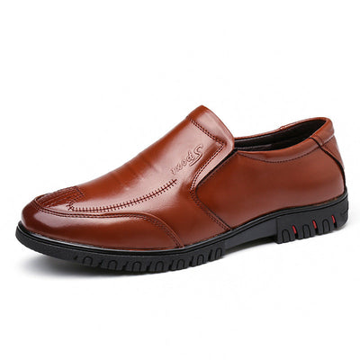 Men Round Toe Slip On Soft Business Casual Leather Loafers