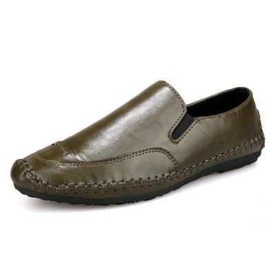 Men Hand Stitching Elastic Slip On Comfy Soft Casual Driving Loafers