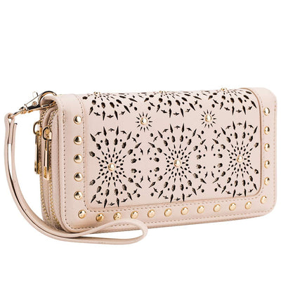 Women Heaye Unicorn Wallet Hollow Floral Wristlet Zip Around Pouch with Perforated Stud RFID Blocking