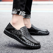 Men Hand Stitching Leather Non Slip Large Size Slip On Casual Shoes