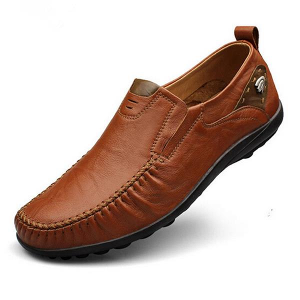 Large Size Men Genuine Leather British Style Soft Print Business Shoes