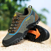 Men's Leather Mesh Breathable Non-Slip Wear-Resistant Outdoor Hiking Camping Sneakers