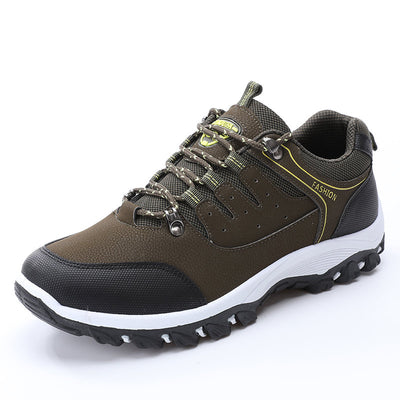 Men Microfiber Leather Outdoor Slip Resistant Lace Up Hiking Shoes