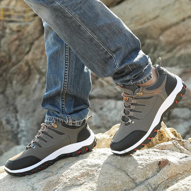 Men's All Seasons Microfiber Leather Outdoor Slip Resistant Lace Up Hiking Shoes