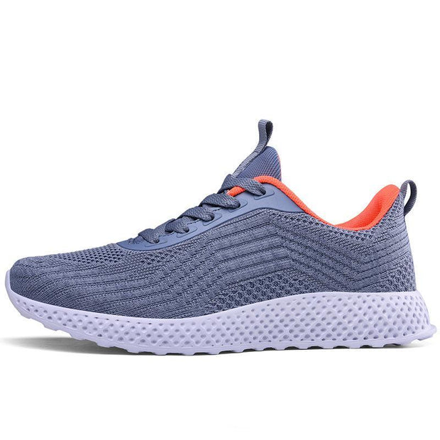 Women's All Seasons Mesh Breathable Flying Woven Solid Colors Lace-Up Sneakers