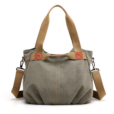 Women Canvas Shoulder Messenger Bag Large Crossbody Casual Tote Solid Handbag