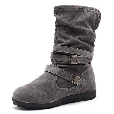 Women Warm Lined Solid Color Buckle Snow Boots