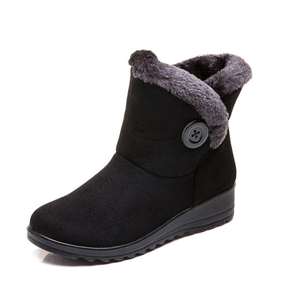 139183  Women's winter suede short tube waterproof non-slip booties plus velvet warm cotton shoes