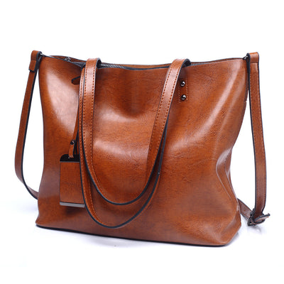 Women's bag new large-capacity fashion tote bag retro leather Europe and America shoulder bag handbag large bag