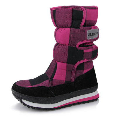 Women's  winter non-slip waterproof boots warm and velvet thickening flat cotton boots snow boots in the tube women's shoes