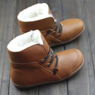 Women's  leather boots flat PU fashion boots large size women's shoes