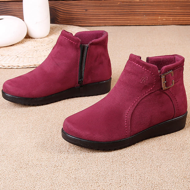 Women's Winter old Beijing cloth shoes women's cotton shoes plus velvet warm mother shoes fashion zipper light soft bottom casual