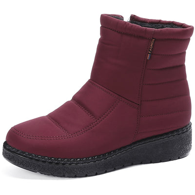 Women's Old Beijing winter cotton shoes boots shoes middle-aged thick waterproof warm mother shoes short tube lightweight zipper