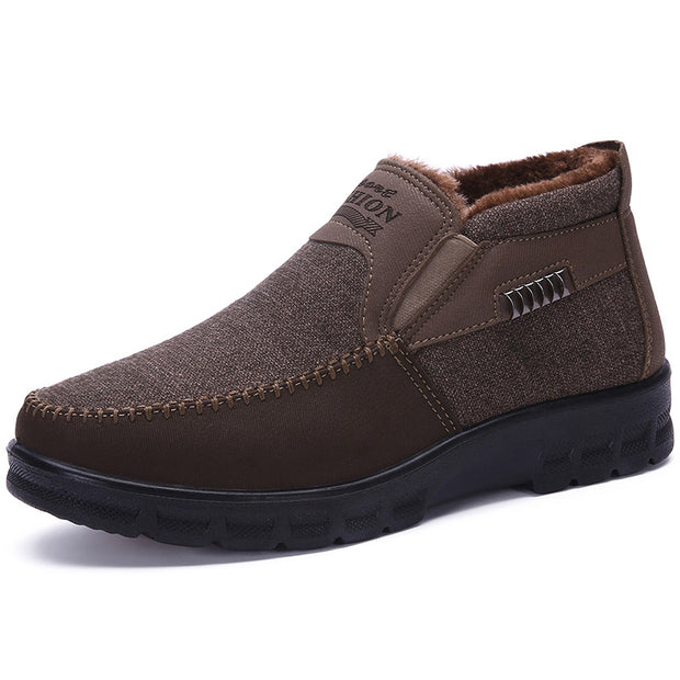 Men's old Beijing cloth shoes cotton shoes Winter thickening plus velvet warm casual sets of feet middle-aged father shoes