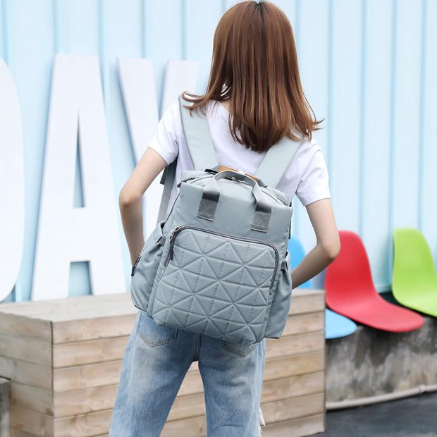 Women's  Mummy bag shoulders portable casual fashion backpack multi-function water chest line large capacity waterproof maternal bag new