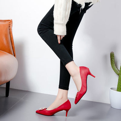 Women's High-Heeled Large Size Shoes Suede Pointed Comfortable