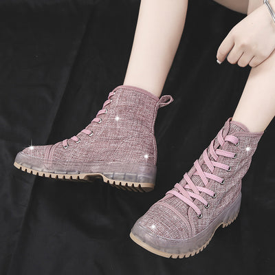 Women's High-top shoes autumn new non-slip bottom lace round head temperament Martin boots short women boots