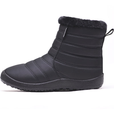 Women's winter and warm waterproof fur lined with non-slip side zipper short snow boots