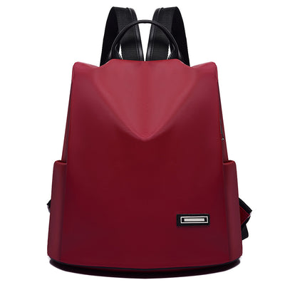 Women's Backpack Trend Korean Simple Backpack Oxford Cloth Anti-theft Waterproof Solid Color Women's Bag