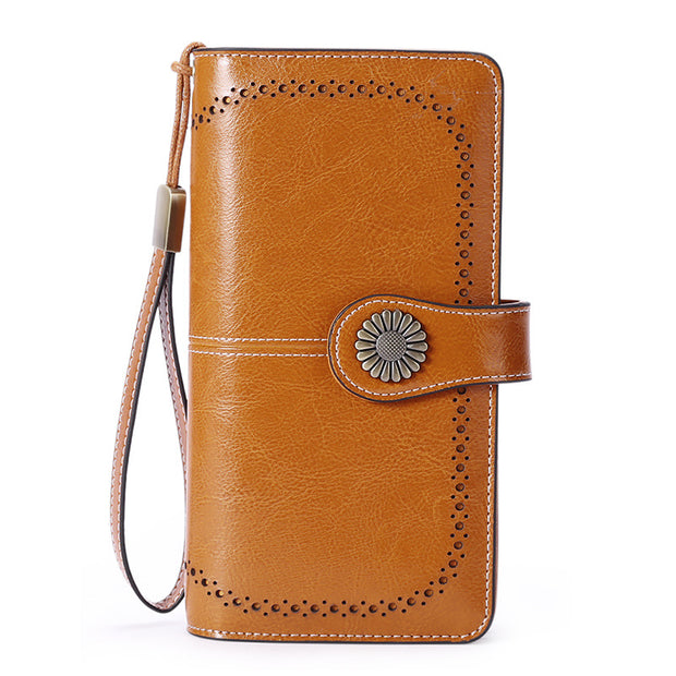 Women's RFID Long Zipper Leather Large Capacity Clutches Wallets
