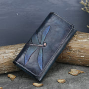 Women's butterfly leather carved long wallet retro clutch