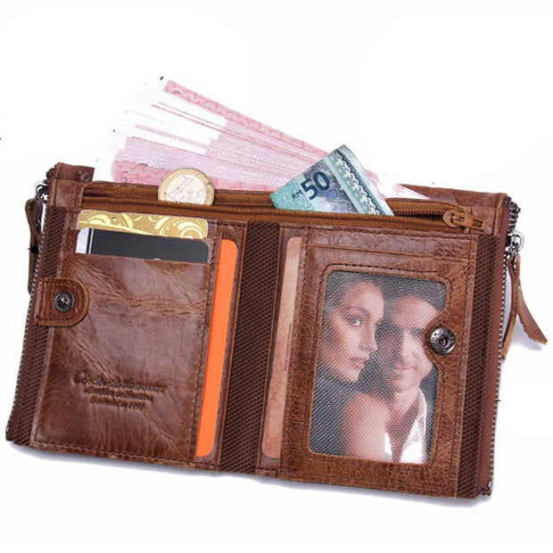 Men's Leather Short Clutch Fashion Coin Purse Crazy Horse Leather Double Zipper Wallet