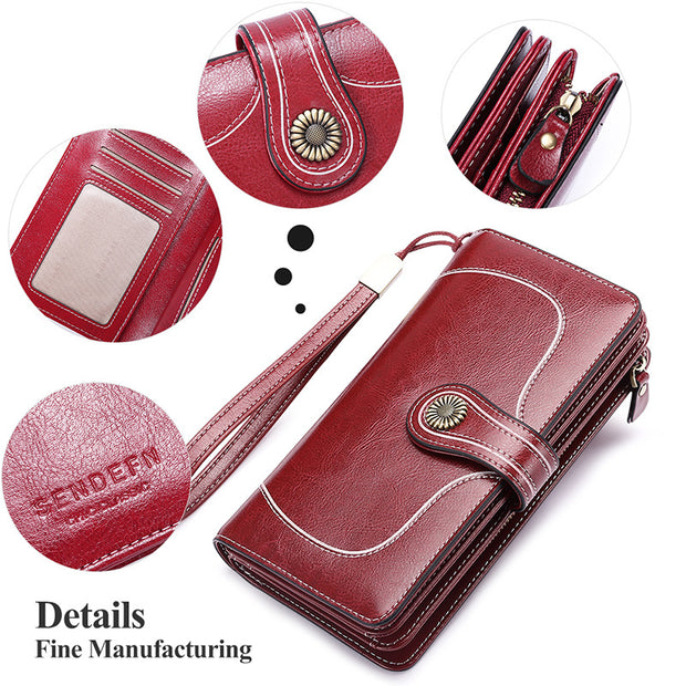 Women's leather large-capacity  long wallet bill holder