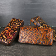 Women's Retro Embossed Multi-card Slot Long Wallet