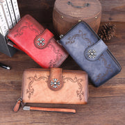 Women leather zipper multi-card slot long wallet