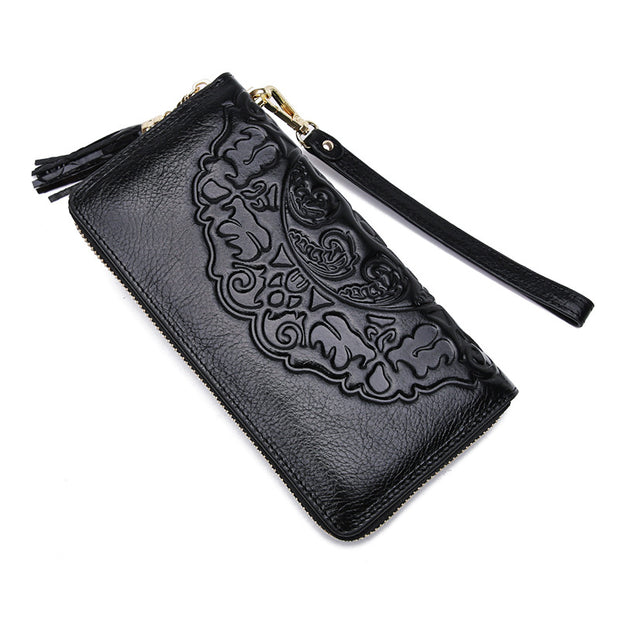 Women Retro Leather Casual Ladies Long Wallet